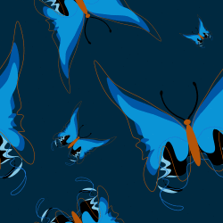 blue butterflies repeating pattern background tile