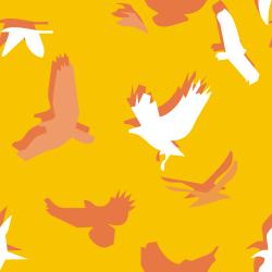 yellow birds of prey pattern background tile